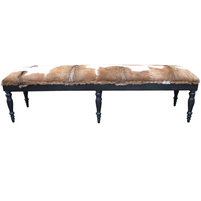 Pedro Goatskin Bed End Bench - Brown and White