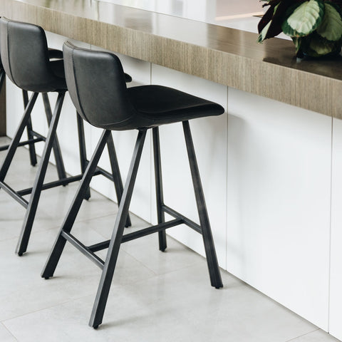 Crown Black Leather Barstool with Studded Back