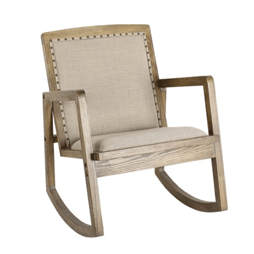 Rolla Oak & Linen Rocking Chair