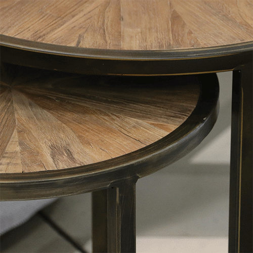 Round Nesting Tables in Recycled Elm