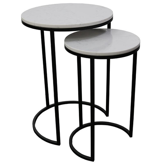 Santos Nest of 2 Side Tables - White Marble