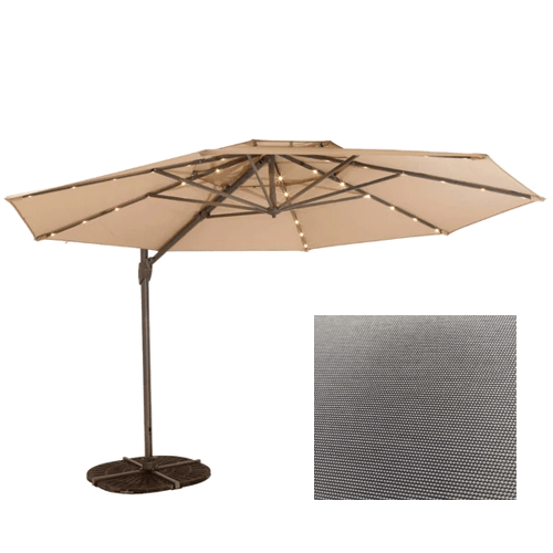 Shelta Windemere Cantilever Outdoor Umbrella with LED Lights - 3.3m Octagonal - Grey