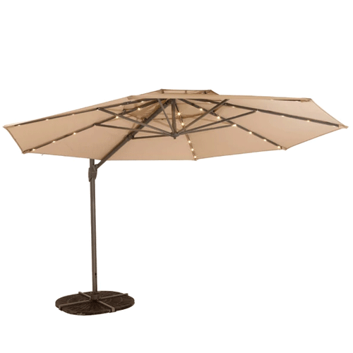 Shelta Windemere Cantilever Outdoor Umbrella with LED Lights - 3.3m Octagonal - Taupe