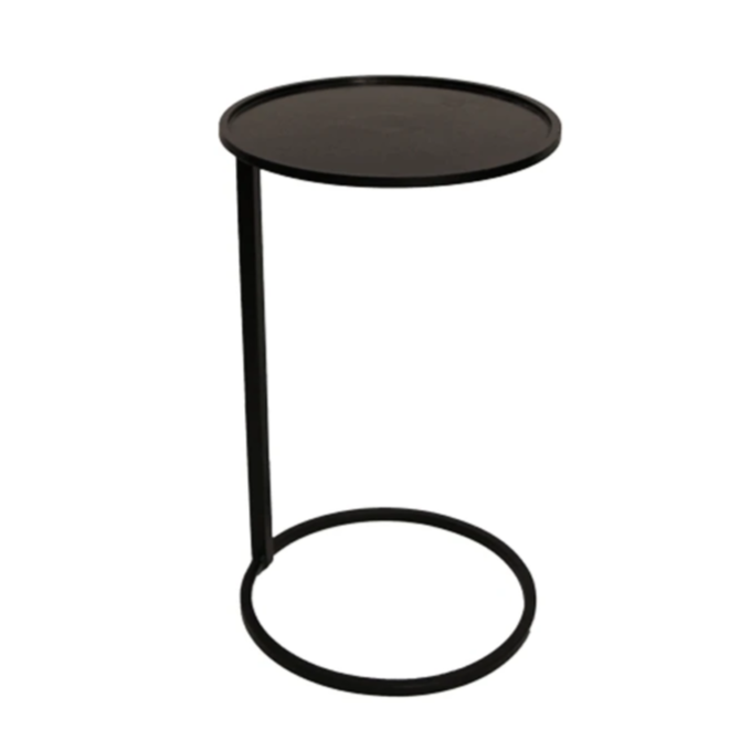 Small Black Circular Couch Side Table