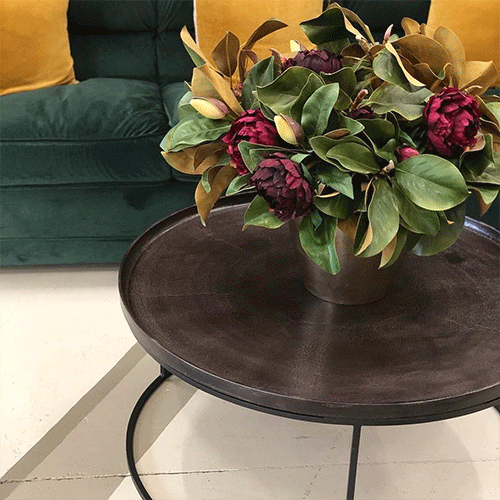 London Oxidised Round Coffee Table in Copper Finish with Black Legs