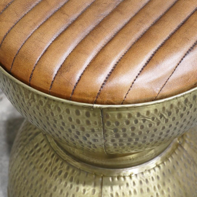 Leather and Steel Pouffe / Stool