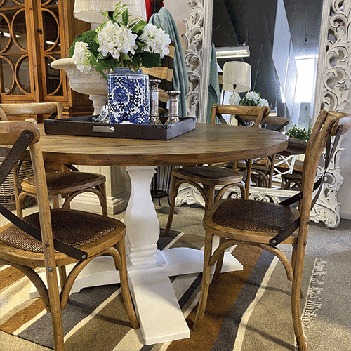 Sumner White Pedestal Round Dining Table - 1400