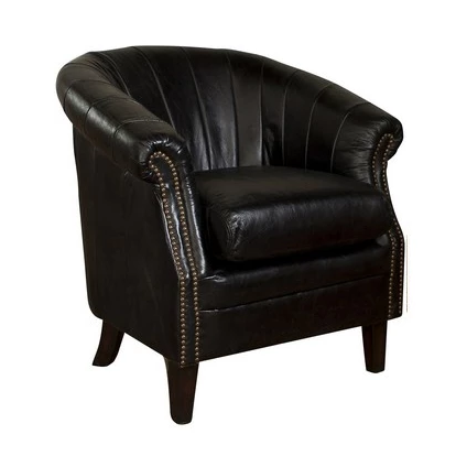 Revel Leather Tub Chair - Vintage Black