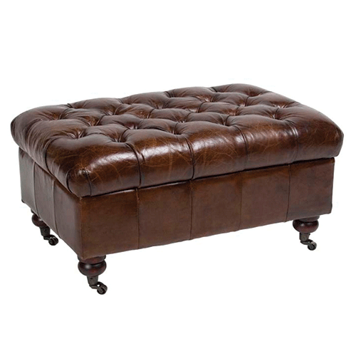 Buttoned Leather Storage Ottoman - Vintage Brown