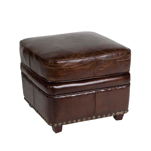 Vintage Brown Leather Square Footstool