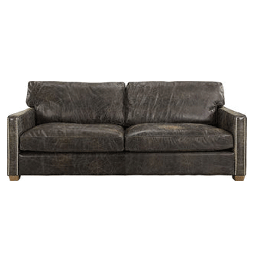 Halo Viscount William Leather 3 Seater Sofa - Fudge