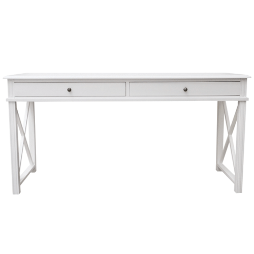 Cross Desk with 2 Drawers in White