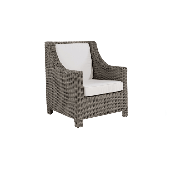 artwood maple armchair wicker with white cushions