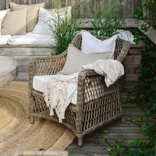 artwood marbella outdoor dining chair in courtyard