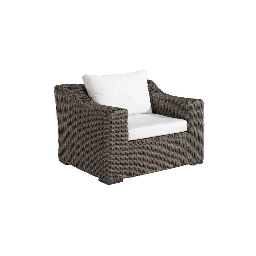 artwood san diego outdoor armchair brown wicker with white cushions