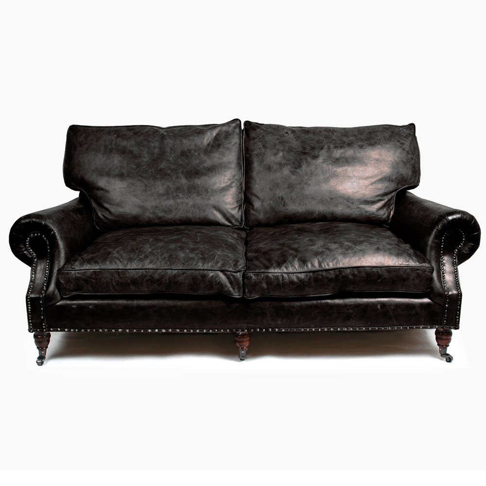 halo balmoral 3 seater sofa in old glove espresso leather