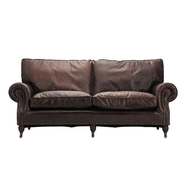 halo balmoral 3 seater sofa in vintage leather cigar