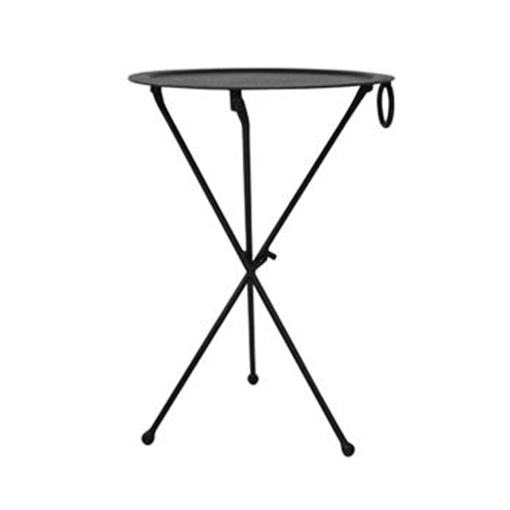 Round Black Iron Folding Atlas Table