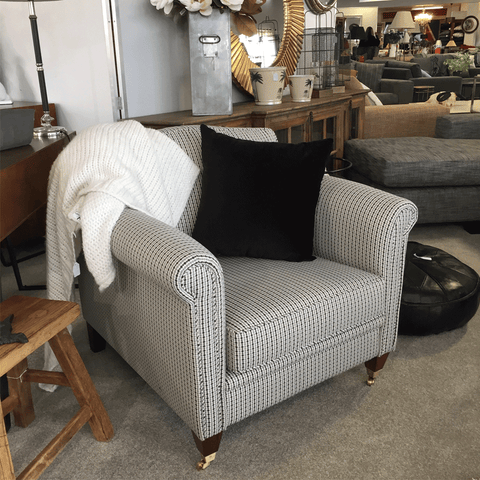 Cassia Linen Armchair with Oak Legs - Light Grey