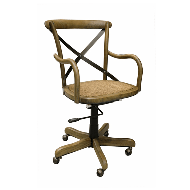 Elm Cross-Back Office Desk Chair - Adjustable Height + Swivels