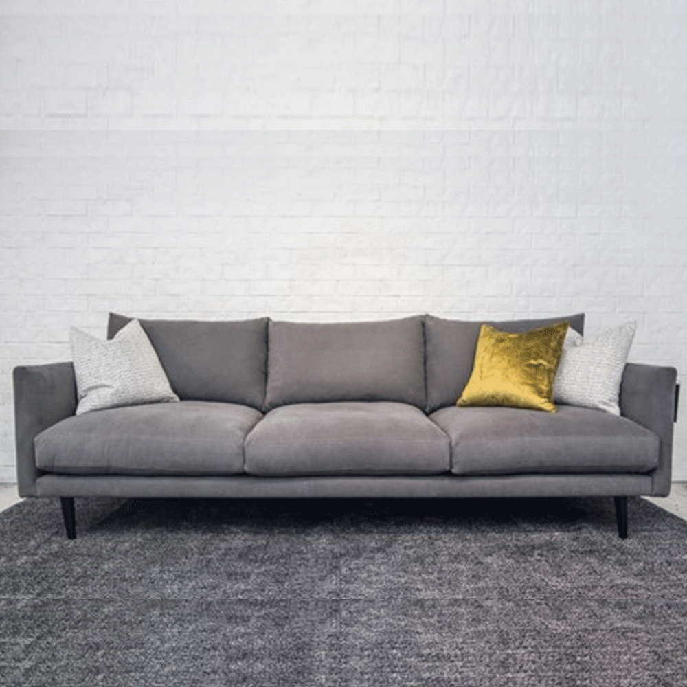contemporary modern sofa with grey fabric made in new zealand