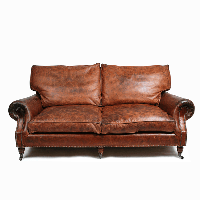 halo balmoral 2 seater sofa in vintage leather cigar