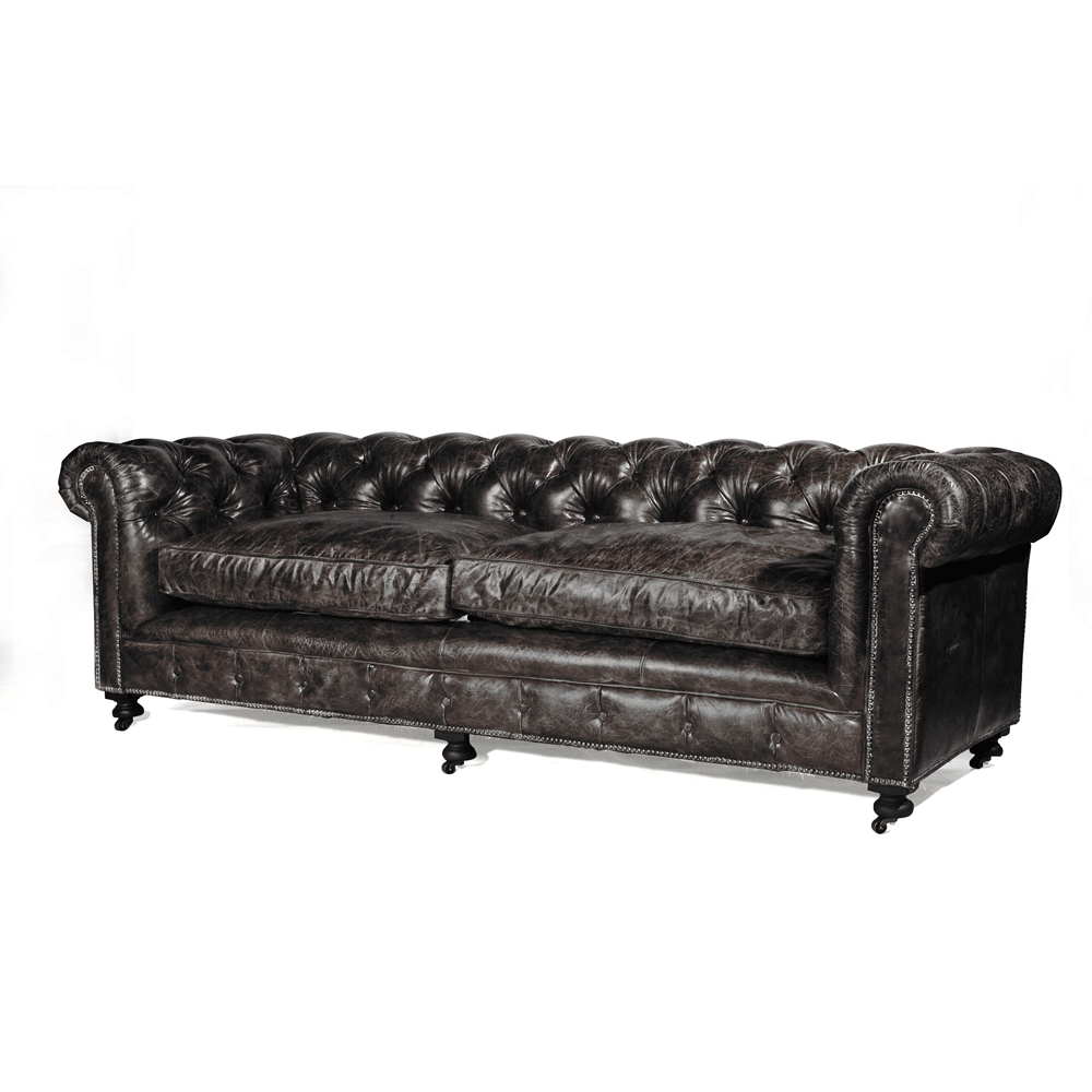 halo kensington 3 seater sofa in old vintage leather