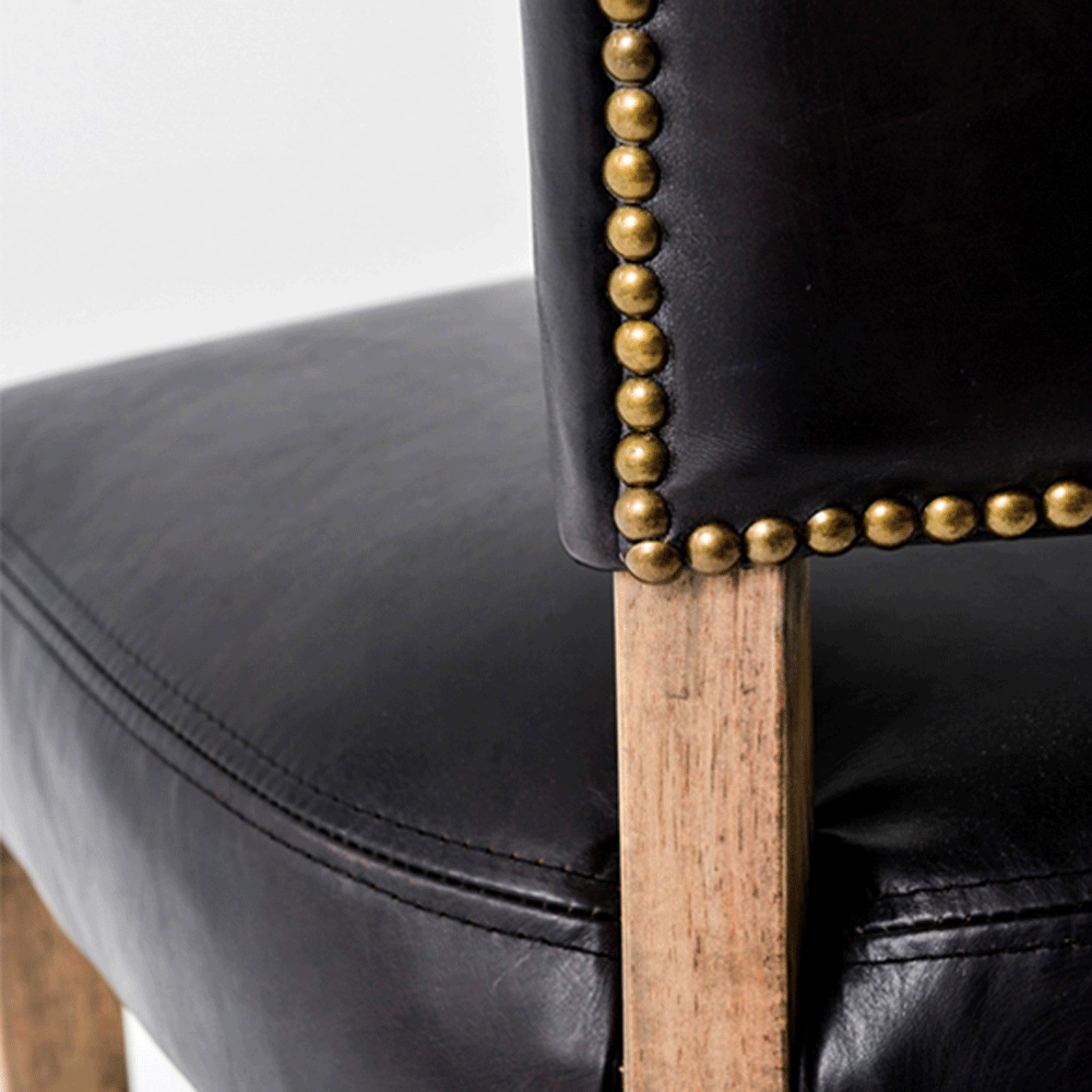 HALO Mimi Leather Dining Chair - Riders Black