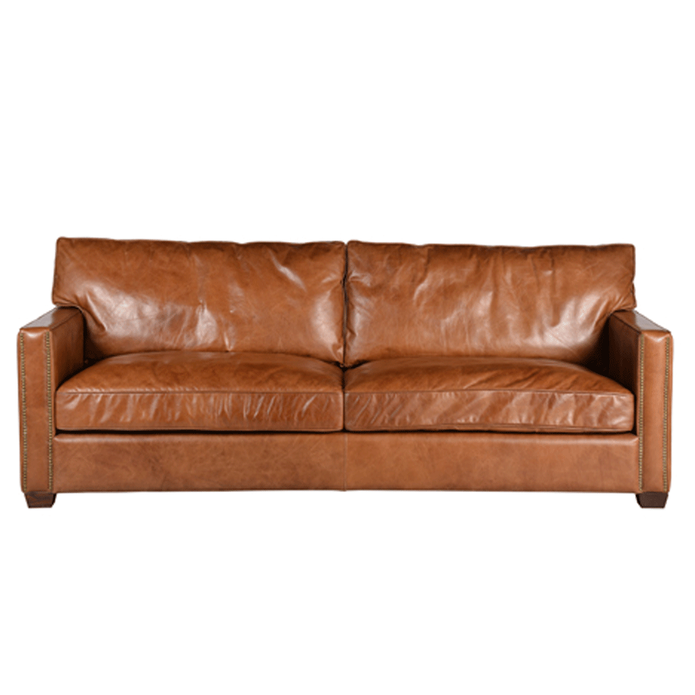 halo viscount william 3 seater sofa in vintage cigar leather