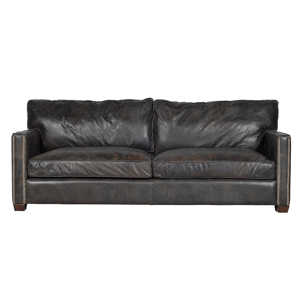 halo viscount william 3 seater  sofa in old glove espresso leather