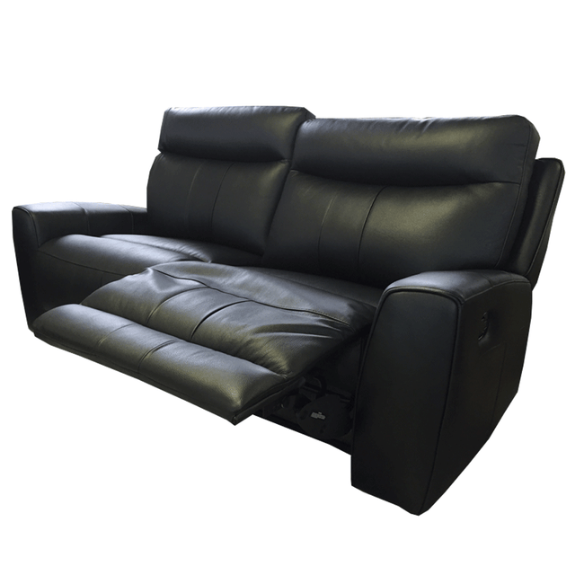 black leather recliner couch 3 seater