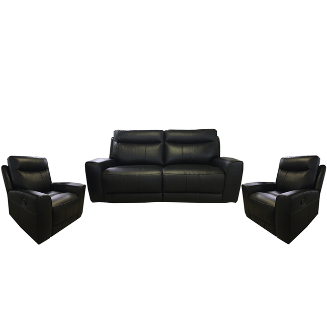 black leather recliner couch and two recliner chairs