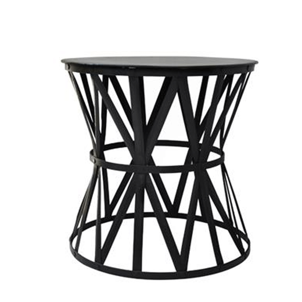 black iron drum side table