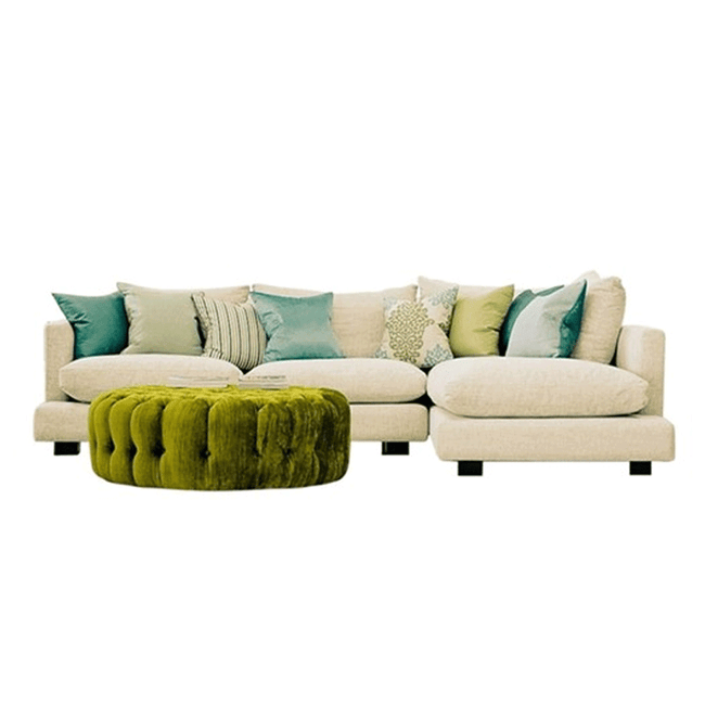 corner lounge suite made in new zealand white with green cushions green ottoman