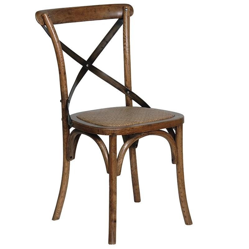 Marcel Metal Cross Back Dining Chair - Old Finish
