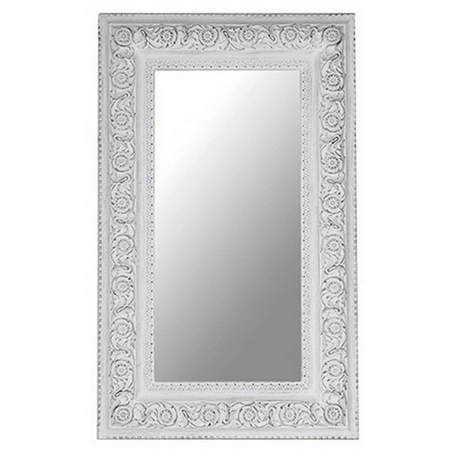 Ornate Baroque White Leaner Mirror