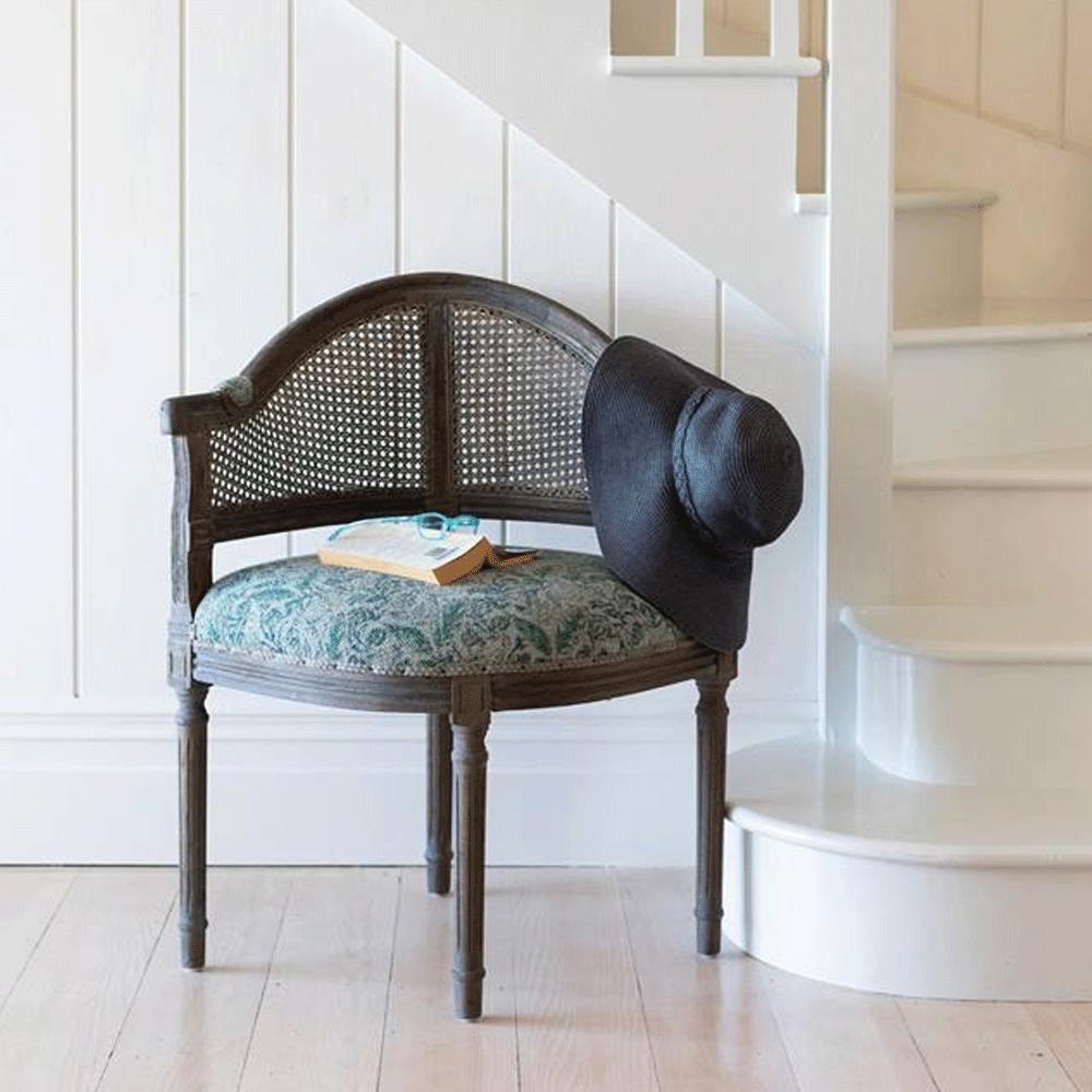 Nellie Greywash Rattan Corner Chair - Linen Cushion