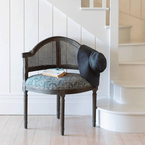 Cassia Linen Armchair with Oak Legs - Dark Grey