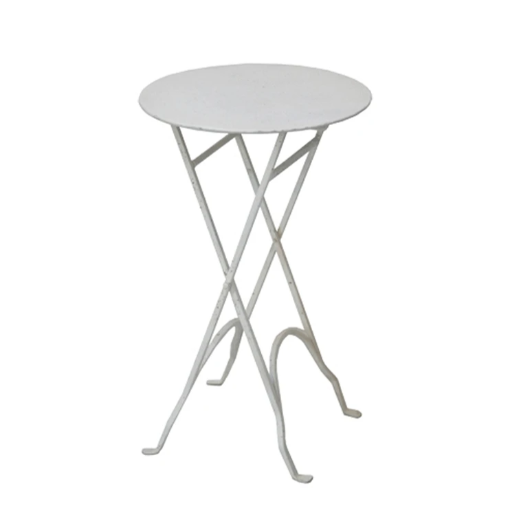 Round White Folding Iron Side Table