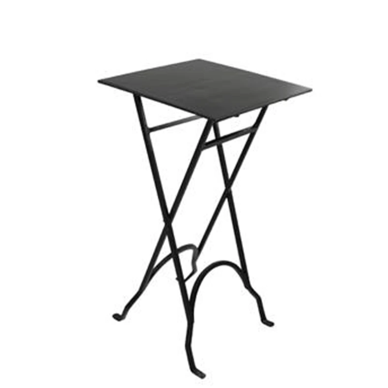 Square Black Folding Iron Side Table