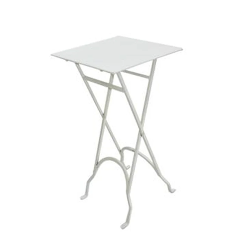 Square White Folding Iron Side Table
