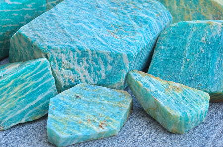closeup natural amazonite stones