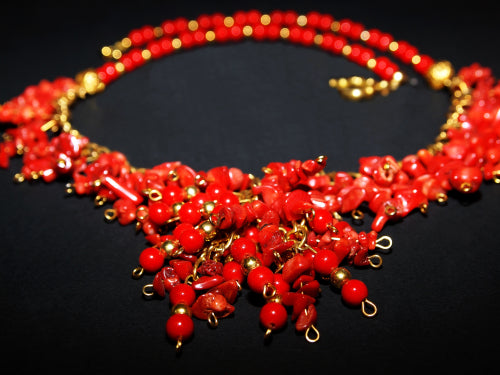 boho chic red coral necklace