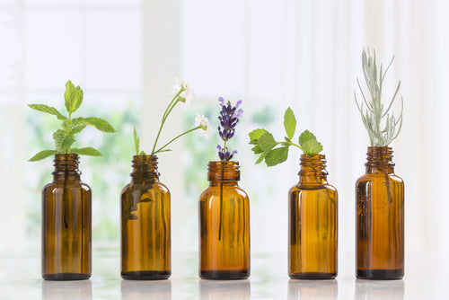 brown essential oil bottles with herbs