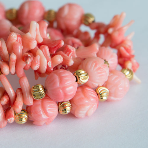 necklace with pink coral beads