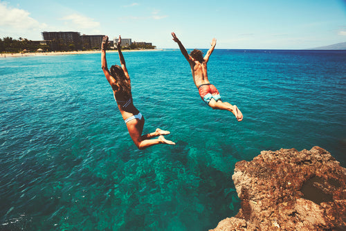 pair cliff jumping