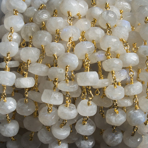 High quality 7mm Rainbow Moonstone faceted rondelle Gold plated Chain by the foot 29pcs - Buy From The Bead Traders Online Store.