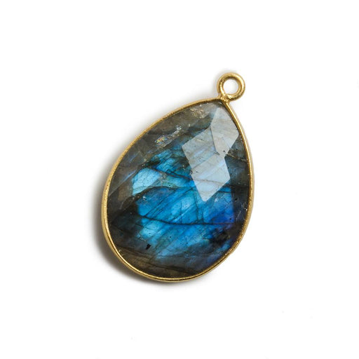 21x16mm Vermeil Bezel Labradorite faceted pear 1 ring Charm Pendant 1 pc