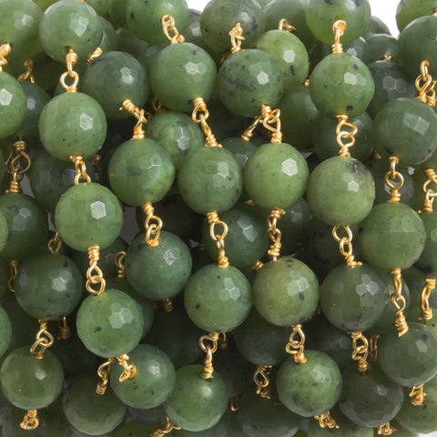 Premium quality 8mm Serpentine faceted round Gold plated Chain by the foot 23 pieces - Buy From The Bead Traders Online Store.