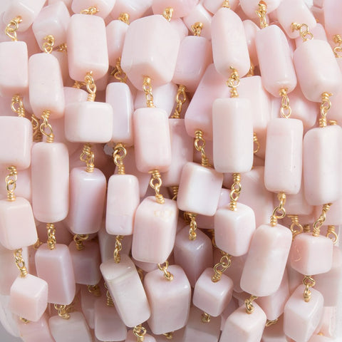 6x9-6x11mm Pink Peruvian Opal rectangle Gold plated Chain by the foot 18pcs